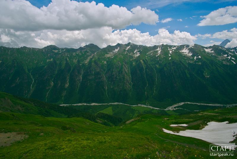 Панорама ущелья Кизгыч с перевала Софийское седло, Архыз