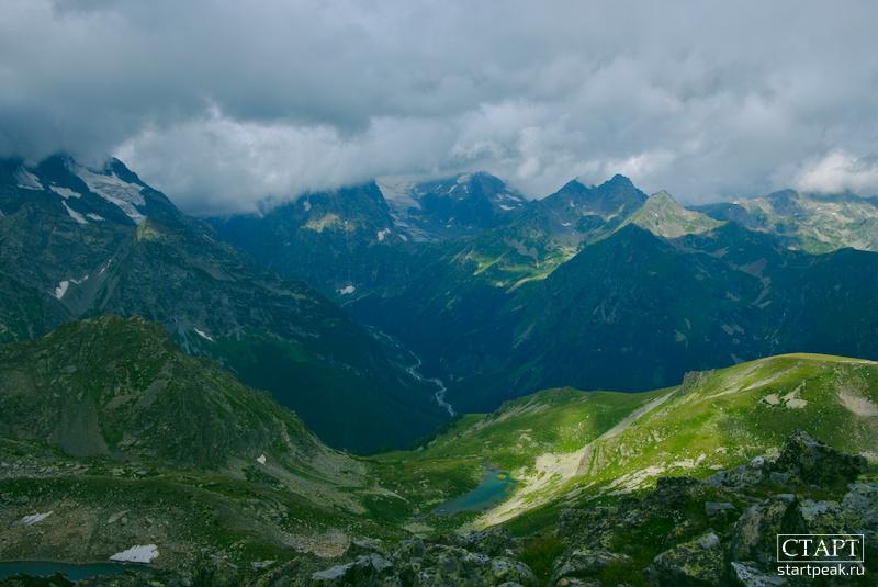Долина реки Псыш, вид с пер. Кара-Джаш