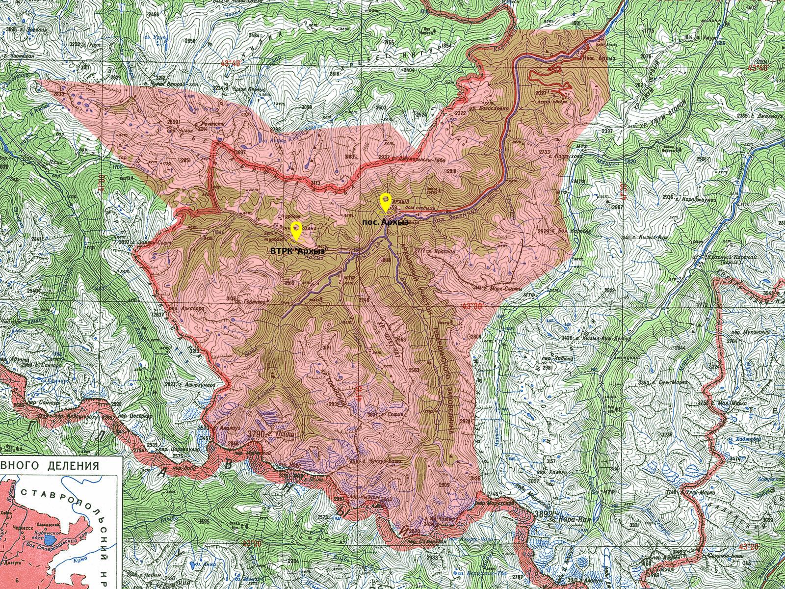 Подробная карта Архыза