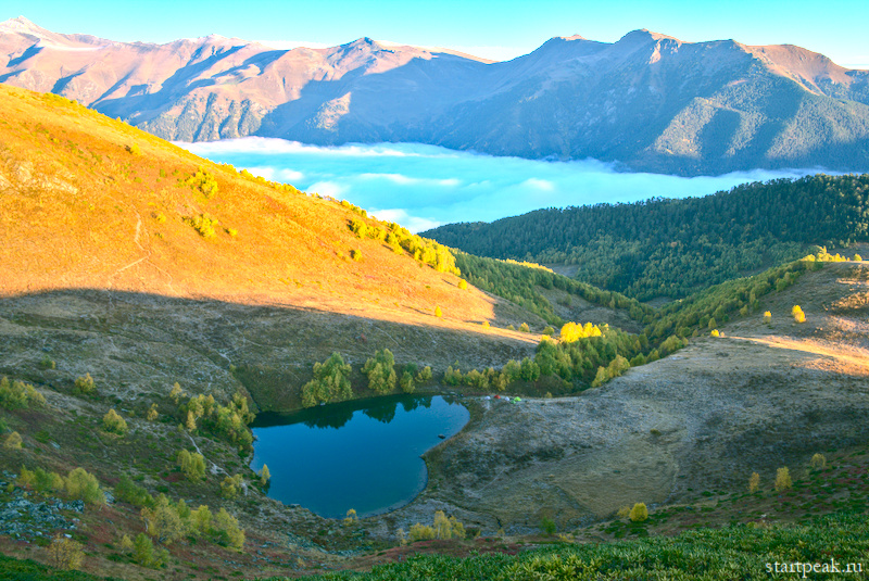 Поход с палатками на озеро Любви и Рыбные озёра в Архызе