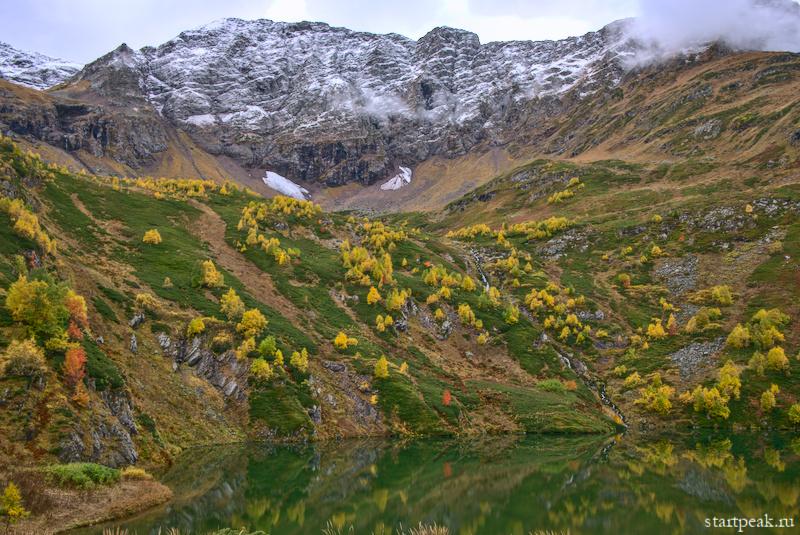 Первый снег на горных озёрах в Архызе